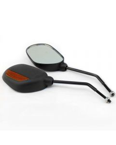 Pair of Oval Bike Mirrors with Reflectors