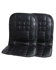 Komodo 2 x Orthopaedic Leather Car Seat Covers - Black