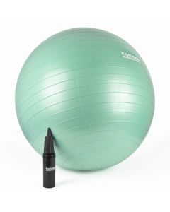 small green yoga ball with pump