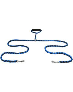 Blue Twin Dog Lead with Handle