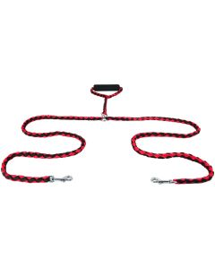 Twin Dog Lead with Handle - Red